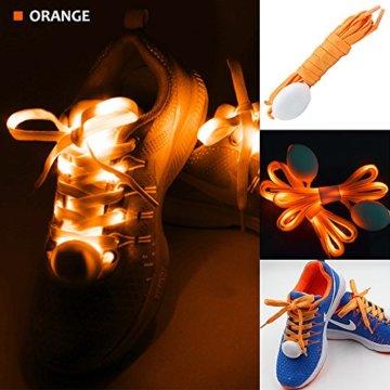 3 Pack Light Schnürsenkel, FineGood Nylon Schuhe Schnürsenkel mit vier blinkenden Modi für Tanzen Hip-Hop Radfahren Laufen Wandern Skating Sport - Blau, Orange, Grün - 3
