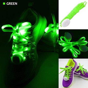 3 Pack Light Schnürsenkel, FineGood Nylon Schuhe Schnürsenkel mit vier blinkenden Modi für Tanzen Hip-Hop Radfahren Laufen Wandern Skating Sport - Blau, Orange, Grün - 4