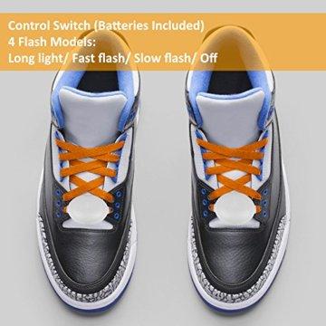 3 Pack Light Schnürsenkel, FineGood Nylon Schuhe Schnürsenkel mit vier blinkenden Modi für Tanzen Hip-Hop Radfahren Laufen Wandern Skating Sport - Blau, Orange, Grün - 6