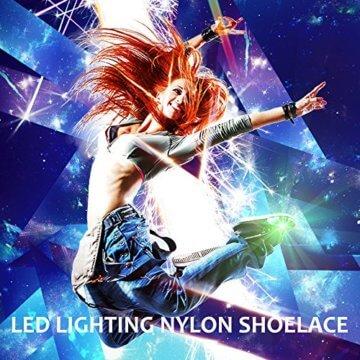 3 Pack Light Schnürsenkel, FineGood Nylon Schuhe Schnürsenkel mit vier blinkenden Modi für Tanzen Hip-Hop Radfahren Laufen Wandern Skating Sport - Blau, Orange, Grün - 7