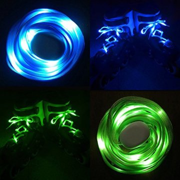 3 Pack Light Schnürsenkel, FineGood Nylon Schuhe Schnürsenkel mit vier blinkenden Modi für Tanzen Hip-Hop Radfahren Laufen Wandern Skating Sport - Blau, Orange, Grün - 8