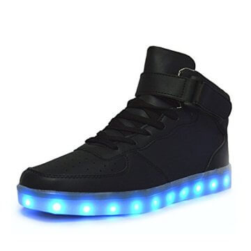 Aidonger Unisex Erwachsene High-Top LED Schuhe Sneaker Sportschuhe USB Lade Outdoor Leichtathletik beiläufige Paare Schuhe(EU 39, Schwarz) - 1