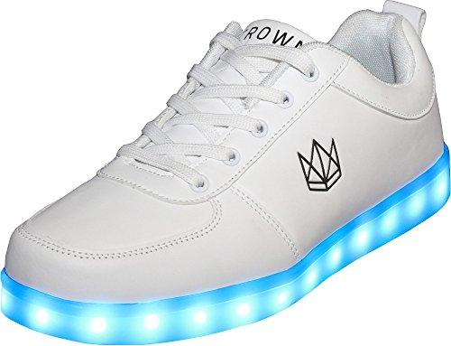innovative design f38b5 1552c CROWN Classic White LED Schuhe Unisex