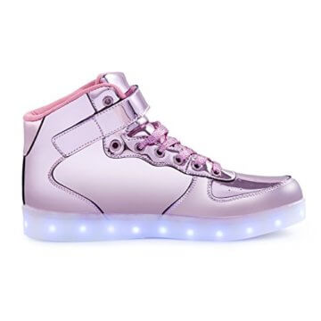 FLARUT 7 Farbe USB Aufladen LED Leuchtend Leuchtschuhe Blinkschuhe Sport Schuhe für Jungen Mädchen Kinder(35 EU,Rosa) - 2