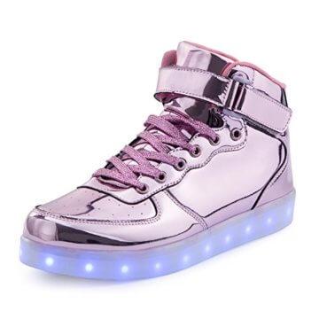 FLARUT 7 Farbe USB Aufladen LED Leuchtend Leuchtschuhe Blinkschuhe Sport Schuhe für Jungen Mädchen Kinder(35 EU,Rosa) - 1