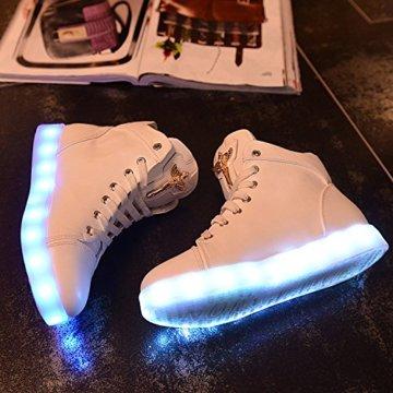 Gaorui Damen High-Top LED Light Glow Sneaker Multi-Color-Blink Turnschuhe Sportsschuhe USB Aufladen Gebühre Weiß für Unisex-Erwachsene Herren Damen - 3