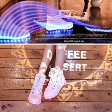 Gaorui Damen High-Top LED Light Glow Sneaker Multi-Color-Blink Turnschuhe Sportsschuhe USB Aufladen Gebühre Weiß für Unisex-Erwachsene Herren Damen - 4