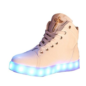 Gaorui Damen High-Top LED Light Glow Sneaker Multi-Color-Blink Turnschuhe Sportsschuhe USB Aufladen Gebühre Weiß für Unisex-Erwachsene Herren Damen - 1