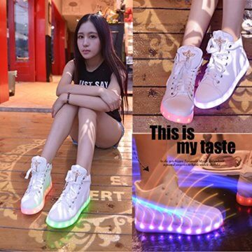 Gaorui Damen High-Top LED Light Glow Sneaker Multi-Color-Blink Turnschuhe Sportsschuhe USB Aufladen Gebühre Weiß für Unisex-Erwachsene Herren Damen - 5