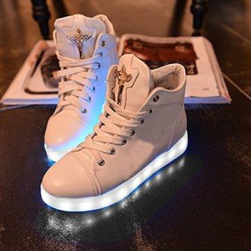 Gaorui Damen High-Top LED Light Glow Sneaker Multi-Color-Blink Turnschuhe Sportsschuhe USB Aufladen Gebühre Weiß für Unisex-Erwachsene Herren Damen - 6