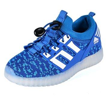 LED leuchtende bunte Sneaker Turnschuhe Unisex Kinder Jungen Mädchen USB Auflade Sportschuhe leichte Schuhe 1832 Blau 27 - 2