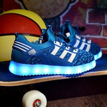 LED leuchtende bunte Sneaker Turnschuhe Unisex Kinder Jungen Mädchen USB Auflade Sportschuhe leichte Schuhe 1832 Blau 27 - 6