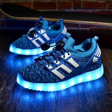 LED leuchtende bunte Sneaker Turnschuhe Unisex Kinder Jungen Mädchen USB Auflade Sportschuhe leichte Schuhe 1832 Blau 27 - 7
