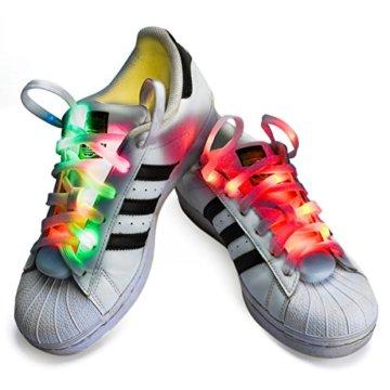 LED Schnürsenkel,CrazyFire 3 Modi Bunte Schnürsenkel,Batteriebetriebene Nylon Schnürsenkel LED Mehrfarbige Blinkende Sicherheits-Schuh-Schnüre für Partei-Hip-hop-Tanzen-Skaten Laufen (1 Paar) - 2