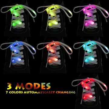 LED Schnürsenkel,CrazyFire 3 Modi Bunte Schnürsenkel,Batteriebetriebene Nylon Schnürsenkel LED Mehrfarbige Blinkende Sicherheits-Schuh-Schnüre für Partei-Hip-hop-Tanzen-Skaten Laufen (1 Paar) - 3