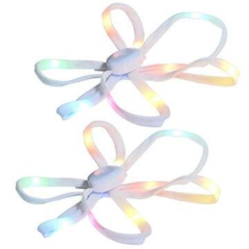 LED Schnürsenkel,CrazyFire 3 Modi Bunte Schnürsenkel,Batteriebetriebene Nylon Schnürsenkel LED Mehrfarbige Blinkende Sicherheits-Schuh-Schnüre für Partei-Hip-hop-Tanzen-Skaten Laufen (1 Paar) - 1