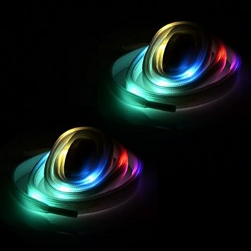 LED Schnürsenkel,CrazyFire 3 Modi Bunte Schnürsenkel,Batteriebetriebene Nylon Schnürsenkel LED Mehrfarbige Blinkende Sicherheits-Schuh-Schnüre für Partei-Hip-hop-Tanzen-Skaten Laufen (1 Paar) - 6