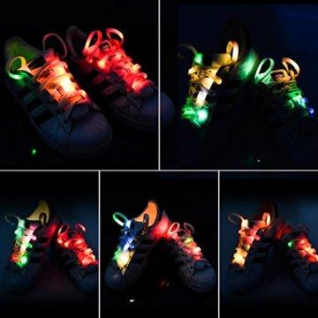 LED Schnürsenkel,CrazyFire 3 Modi Bunte Schnürsenkel,Batteriebetriebene Nylon Schnürsenkel LED Mehrfarbige Blinkende Sicherheits-Schuh-Schnüre für Partei-Hip-hop-Tanzen-Skaten Laufen (1 Paar) - 7