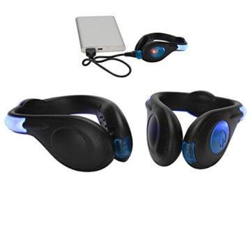 LED-Schuhclip / Sicherheitslicht, vielseitig verwendbar, sportliches Design, wiederaufladbar per USB-Kabel, wasserdicht, mit leuchtstarken LEDs für erhöhte Sichtbarkeit, 60 Stunden Betriebsdauer, 2 Stück, grün, 1 Pair - 5