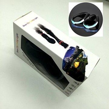 LED-Schuhclip / Sicherheitslicht, vielseitig verwendbar, sportliches Design, wiederaufladbar per USB-Kabel, wasserdicht, mit leuchtstarken LEDs für erhöhte Sichtbarkeit, 60 Stunden Betriebsdauer, 2 Stück, grün, 1 Pair - 9