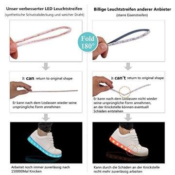 LeKuni Unisex LED Schuhe Leuchtschuhe 2017 Verbesserung 7 Farbe Blinkende Leuchtende Light Up High Top Sneakers(36,Schwarz) - 3