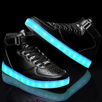 LeKuni Unisex LED Schuhe Leuchtschuhe 2017 Verbesserung 7 Farbe Blinkende Leuchtende Light Up High Top Sneakers(36,Schwarz) - 4