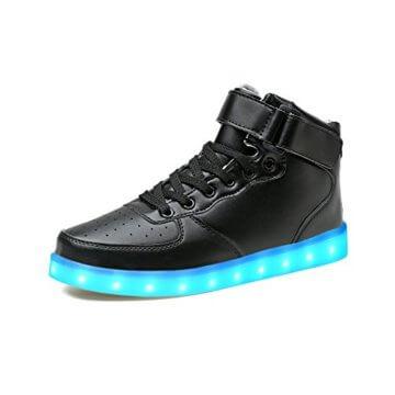 LeKuni Unisex LED Schuhe Leuchtschuhe 2017 Verbesserung 7 Farbe Blinkende Leuchtende Light Up High Top Sneakers(36,Schwarz) - 1