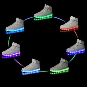 LeKuni Unisex LED Schuhe Leuchtschuhe 2017 Verbesserung 7 Farbe Blinkende Leuchtende Light Up High Top Sneakers(36,Schwarz) - 6