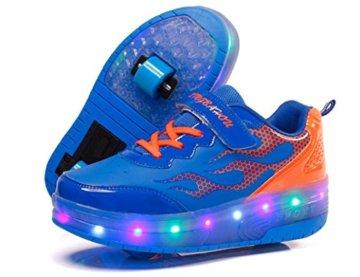 Mr.Ang Skateboard Schuhe mit LED 7 Farbe Farbwechsel Lichter blinken Räder SchuheTurnschuhe Jungen und Mädchen Flügel-Art Rollen Verstellbare neutral Kuli Rollschuh Schuhe - 2