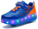 Mr.Ang Skateboard Schuhe mit LED 7 Farbe Farbwechsel Lichter blinken Räder SchuheTurnschuhe Jungen und Mädchen Flügel-Art Rollen Verstellbare neutral Kuli Rollschuh Schuhe - 1