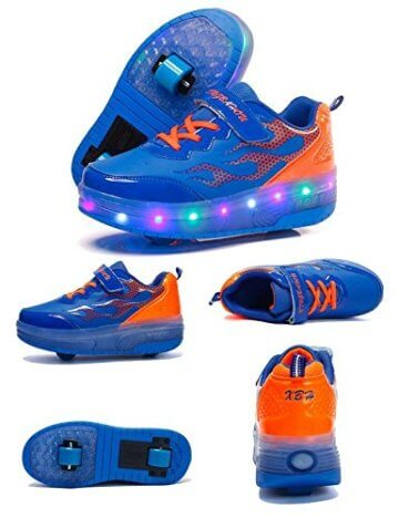 Mr.Ang Skateboard Schuhe mit LED 7 Farbe Farbwechsel Lichter blinken Räder SchuheTurnschuhe Jungen und Mädchen Flügel-Art Rollen Verstellbare neutral Kuli Rollschuh Schuhe - 3