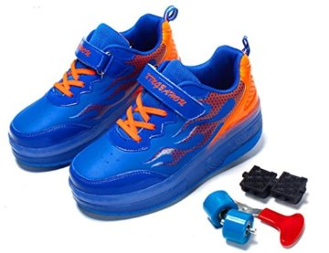 Mr.Ang Skateboard Schuhe mit LED 7 Farbe Farbwechsel Lichter blinken Räder SchuheTurnschuhe Jungen und Mädchen Flügel-Art Rollen Verstellbare neutral Kuli Rollschuh Schuhe - 4