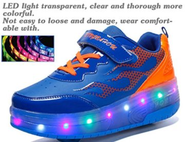 Mr.Ang Skateboard Schuhe mit LED 7 Farbe Farbwechsel Lichter blinken Räder SchuheTurnschuhe Jungen und Mädchen Flügel-Art Rollen Verstellbare neutral Kuli Rollschuh Schuhe - 5