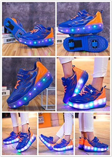 Mr.Ang Skateboard Schuhe mit LED 7 Farbe Farbwechsel Lichter blinken Räder SchuheTurnschuhe Jungen und Mädchen Flügel-Art Rollen Verstellbare neutral Kuli Rollschuh Schuhe - 8