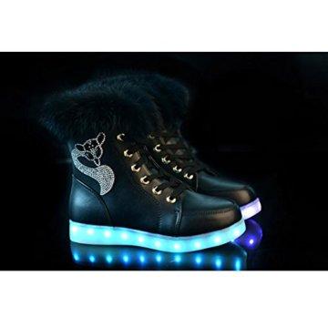 O&N LED Schuh Bunte Schneeschuhe schneestiefel USB Aufladen 7 Farbe Leuchtend Stiefel High-Top Freizeit Winter Schuhe für Unisex-Erwachsene Damen Mädchen - 2