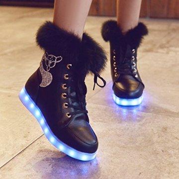 O&N LED Schuh Bunte Schneeschuhe schneestiefel USB Aufladen 7 Farbe Leuchtend Stiefel High-Top Freizeit Winter Schuhe für Unisex-Erwachsene Damen Mädchen - 3