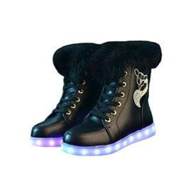 O&N LED Schuh Bunte Schneeschuhe schneestiefel USB Aufladen 7 Farbe Leuchtend Stiefel High-Top Freizeit Winter Schuhe für Unisex-Erwachsene Damen Mädchen - 1