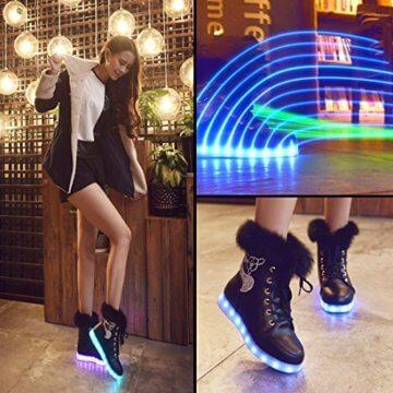 O&N LED Schuh Bunte Schneeschuhe schneestiefel USB Aufladen 7 Farbe Leuchtend Stiefel High-Top Freizeit Winter Schuhe für Unisex-Erwachsene Damen Mädchen - 4