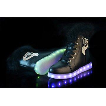 O&N LED Schuh Bunte Schneeschuhe schneestiefel USB Aufladen 7 Farbe Leuchtend Stiefel High-Top Freizeit Winter Schuhe für Unisex-Erwachsene Damen Mädchen - 5