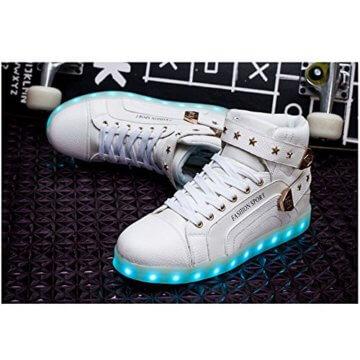 O&N LED Schuh USB Aufladen 7 Farbe Leuchtend SportSchuhe Sneakers High-Top Turnschuhe Freizeit Schuhe fuer Unisex-Erwachsene Herren Damen Kinder, Größe 35 EU, Farbe Weiß - 2