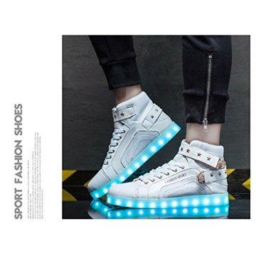 O&N LED Schuh USB Aufladen 7 Farbe Leuchtend SportSchuhe Sneakers High-Top Turnschuhe Freizeit Schuhe fuer Unisex-Erwachsene Herren Damen Kinder, Größe 35 EU, Farbe Weiß - 3