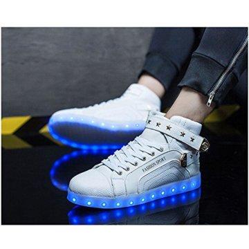 O&N LED Schuh USB Aufladen 7 Farbe Leuchtend SportSchuhe Sneakers High-Top Turnschuhe Freizeit Schuhe fuer Unisex-Erwachsene Herren Damen Kinder, Größe 35 EU, Farbe Weiß - 4