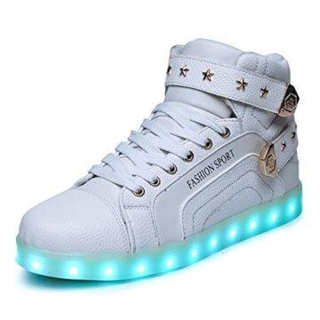 O&N LED Schuh USB Aufladen 7 Farbe Leuchtend SportSchuhe Sneakers High-Top Turnschuhe Freizeit Schuhe fuer Unisex-Erwachsene Herren Damen Kinder, Größe 35 EU, Farbe Weiß - 1