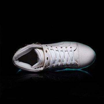 O&N LED Schuh USB Aufladen 7 Farbe Leuchtend SportSchuhe Sneakers High-Top Turnschuhe Freizeit Schuhe fuer Unisex-Erwachsene Herren Damen Kinder, Größe 35 EU, Farbe Weiß - 5