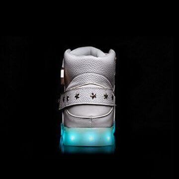 O&N LED Schuh USB Aufladen 7 Farbe Leuchtend SportSchuhe Sneakers High-Top Turnschuhe Freizeit Schuhe fuer Unisex-Erwachsene Herren Damen Kinder, Größe 35 EU, Farbe Weiß - 6