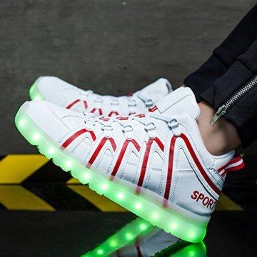 O&N LED Schuh USB Aufladen 7 Farbe Leuchtend SportSchuhe Sneakers Turnschuhe Freizeit Schuhe fuer Unisex-Erwachsene Herren Damen Kinder - 2