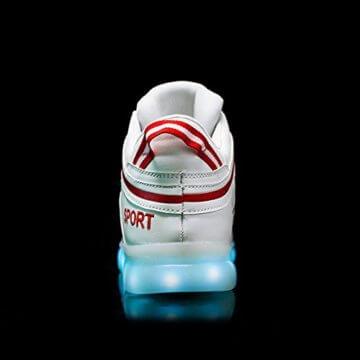 O&N LED Schuh USB Aufladen 7 Farbe Leuchtend SportSchuhe Sneakers Turnschuhe Freizeit Schuhe fuer Unisex-Erwachsene Herren Damen Kinder - 5