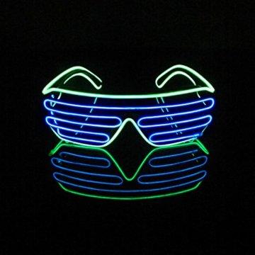 Lerway 2 Bicolor EL Wire Leuchtbrille Leuchten LED Shutter Shade Brille Fun Konzert + Soundsteuerung Box für Masquerade Party, Nacht Pub,Bar Klub Rave,70er 80er 90er Kostüm (Blau + Hellgrün) - 2