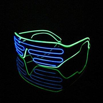 Lerway 2 Bicolor EL Wire Leuchtbrille Leuchten LED Shutter Shade Brille Fun Konzert + Soundsteuerung Box für Masquerade Party, Nacht Pub,Bar Klub Rave,70er 80er 90er Kostüm (Blau + Hellgrün) - 1