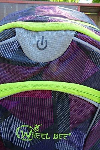 Schildkröt Funsports Wheel Bee Backpack mit Innovative Integriertem LED Licht Sowie Zusätzliche Reflektorstreifen Rucksack, Purple, 48 x 33 x 34 cm - 2
